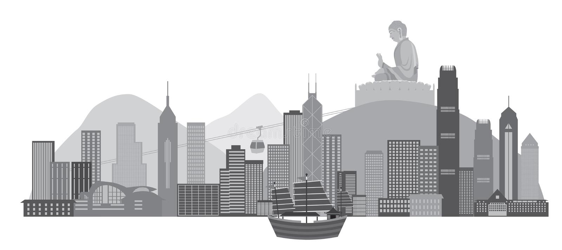Ορίζοντας Χονγκ Κονγκ με την εικονική βάρκα παλιοπραγμάτων και τη διανυσματική απεικόνιση αγαλμάτων του Βούδα ελεύθερη απεικόνιση δικαιώματος