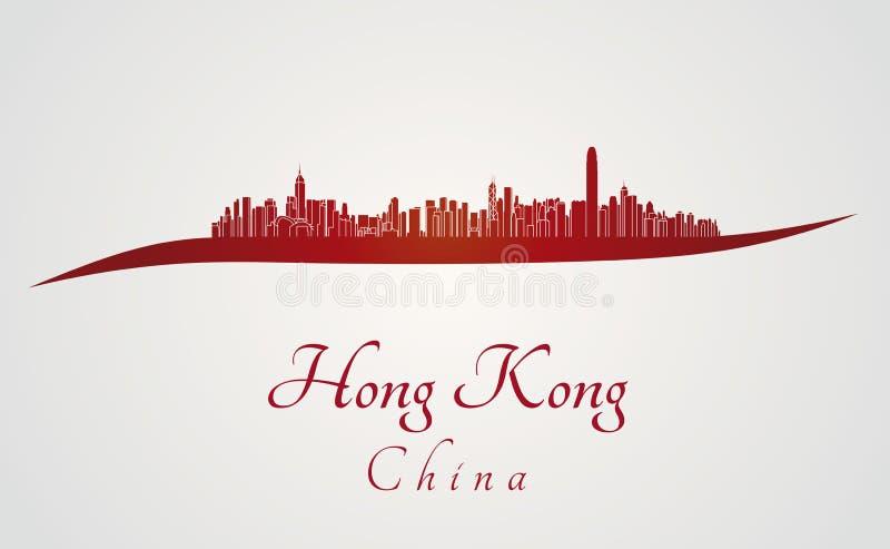 Ορίζοντας Χονγκ Κονγκ στο κόκκινο απεικόνιση αποθεμάτων