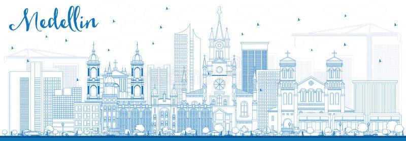 Ορίζοντας Medellin περιλήψεων με τα μπλε κτήρια διανυσματική απεικόνιση