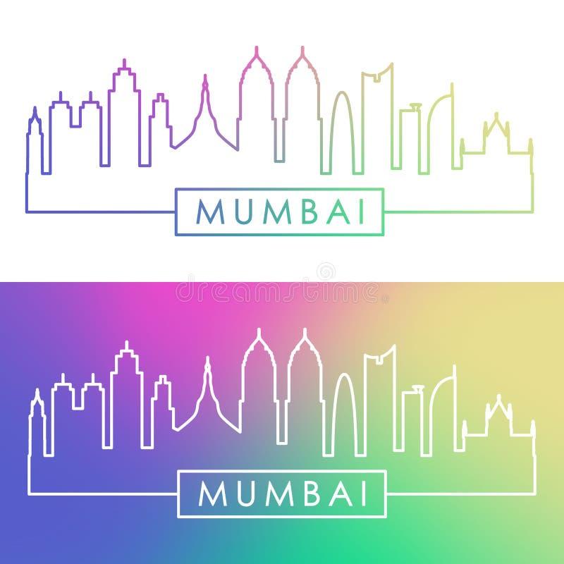 Ορίζοντας Mumbai Ζωηρόχρωμο γραμμικό ύφος απεικόνιση αποθεμάτων
