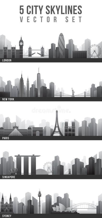 Ορίζοντες πόλεων καθορισμένοι απεικόνιση αποθεμάτων