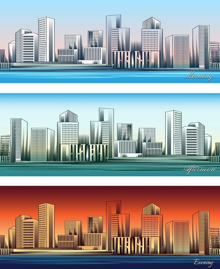 Ορίζοντες πόλεων το πρωί, το απόγευμα και το βράδυ ελεύθερη απεικόνιση δικαιώματος