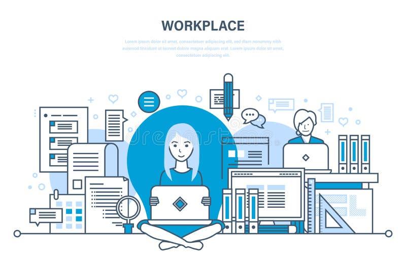 Οργάνωση εργασιακών χώρων και ροή της δουλειάς, εργαλεία για την εργασία, σχεδιασμός στόχου διανυσματική απεικόνιση