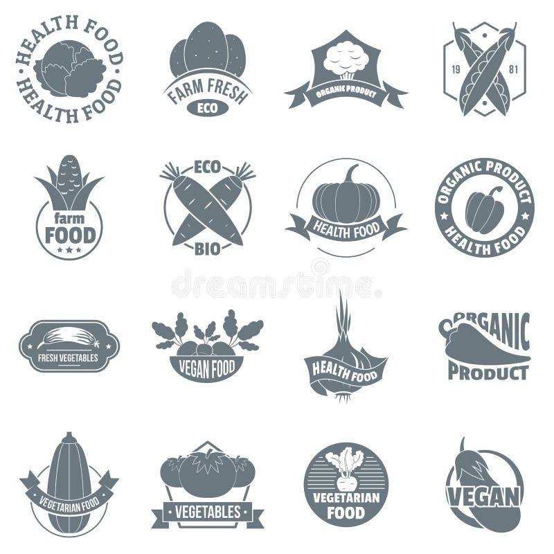 Οργανικά εικονίδια λογότυπων αγροτικών προϊόντων καθορισμένα, απλό ύφος διανυσματική απεικόνιση
