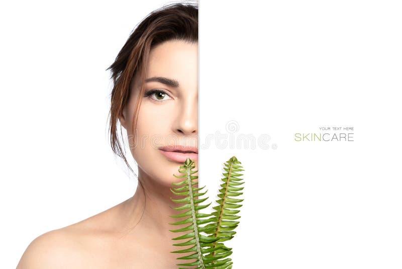 Οργανικά καλλυντικά και έννοια φροντίδας δέρματος με μια όμορφη νέα γυναίκα με τα πράσινα φύλλα στοκ εικόνες