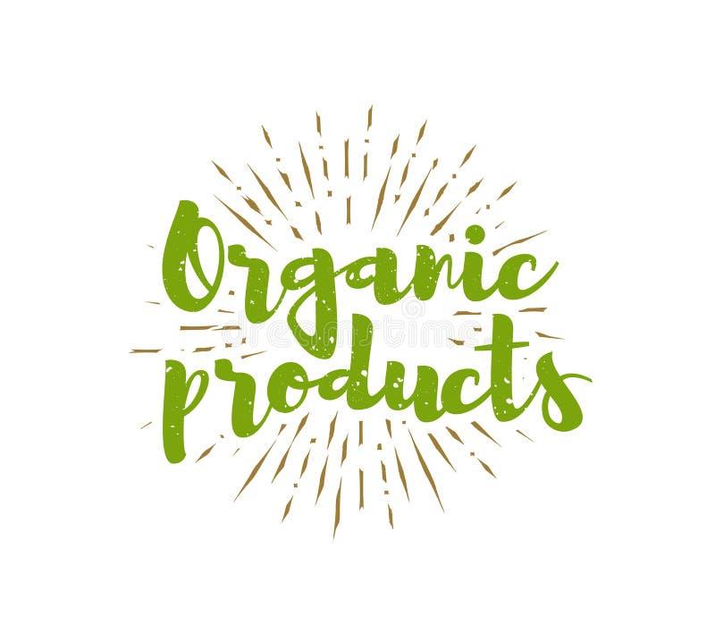 Οργανικά προϊόντα που γράφουν με το υπόβαθρο ηλιοφανειών διάνυσμα ελεύθερη απεικόνιση δικαιώματος