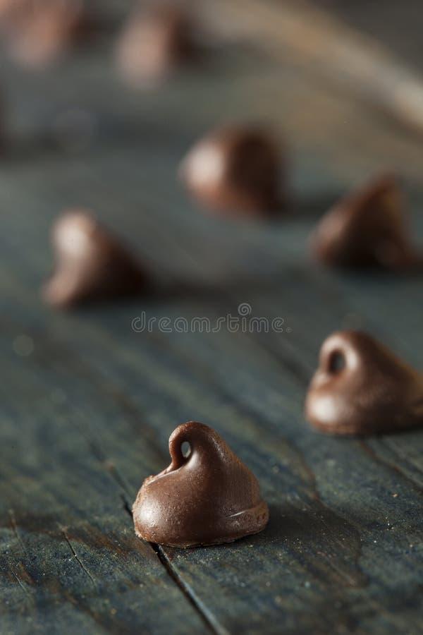 Οργανικά σκοτεινά τσιπ σοκολάτας στοκ εικόνα