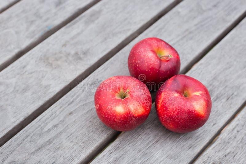 Οργανικά φρέσκα μήλα στο ξύλινο υπόβαθρο Θέμα έννοιας γεωργίας με τα φρέσκα μήλα στη φύση στοκ εικόνα