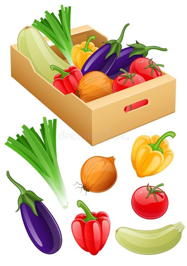 Οργανική συγκομιδή γεωργίας λαχανικών φρέσκια στο κουτί από χαρτόνι ελεύθερη απεικόνιση δικαιώματος