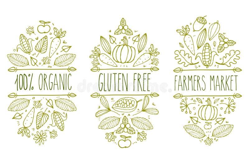 Οργανική τροφή, γλουτένη ελεύθερη, λογότυπο επιλογών αγοράς αγροτών Συρμένο χέρι διανυσματικό τυπογραφικό στοιχείο σκίτσων Ετικέτ απεικόνιση αποθεμάτων