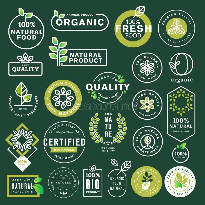 Οργανική τροφή και εικονίδια και στοιχεία ποτών καθορισμένα διανυσματική απεικόνιση