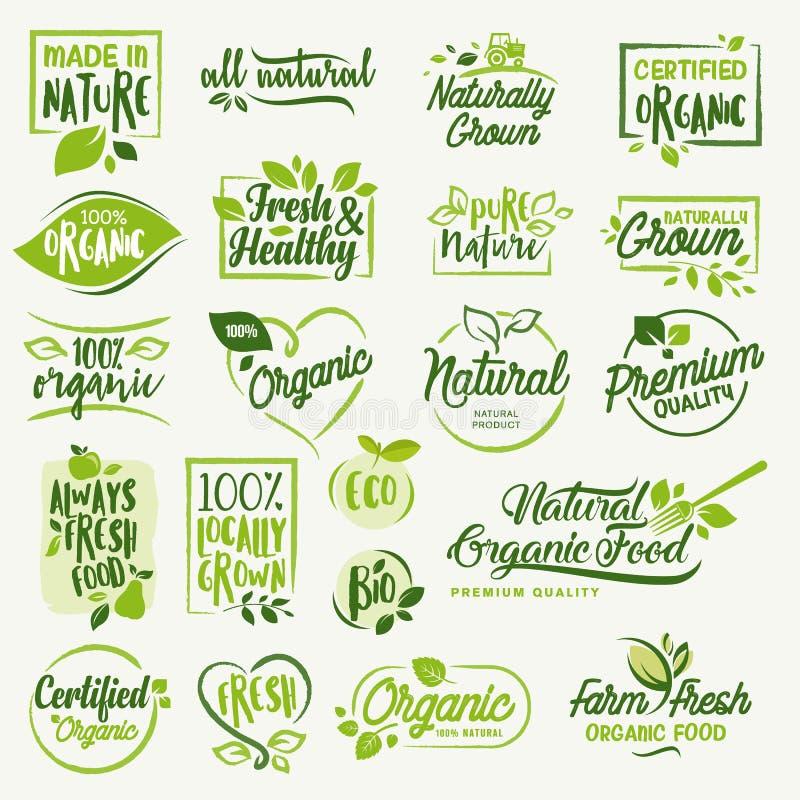 Οργανική τροφή, συλλογή σημαδιών και στοιχείων αγροτικών φρέσκων και φυσικών προϊόντων ελεύθερη απεικόνιση δικαιώματος