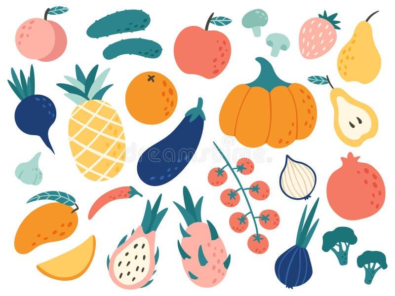 Συρμένα χέρι φρούτα και λαχανικά Οργανική τροφή Doodle, vegan φυτική κουζίνα και doodles διανυσματικό σύνολο απεικόνισης διανυσματική απεικόνιση