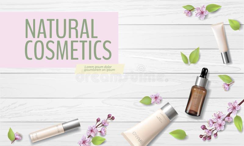 Οργανικό καλλυντικό πρότυπο αγγελιών ανθών κερασιών πώλησης άνοιξη Skincare τρισδιάστατος ρεαλιστικός λουλουδιών προσφοράς promo  ελεύθερη απεικόνιση δικαιώματος