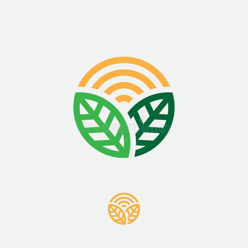 Οργανικό λογότυπο Έμβλημα προϊόντων της Farmer Φύλλα και ήλιος σε έναν κύκλο στοκ εικόνες