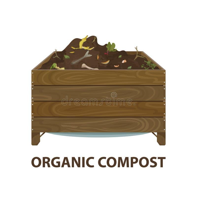 Οργανικό ξύλινο κιβώτιο κινούμενων σχεδίων λιπάσματος με τα απορρίματα εδάφους και τροφίμων Μηδέν θέμα αποβλήτων Απεικόνιση του β διανυσματική απεικόνιση