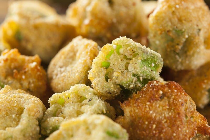 Οργανικό σπιτικό τηγανισμένο πράσινο Okra στοκ εικόνες