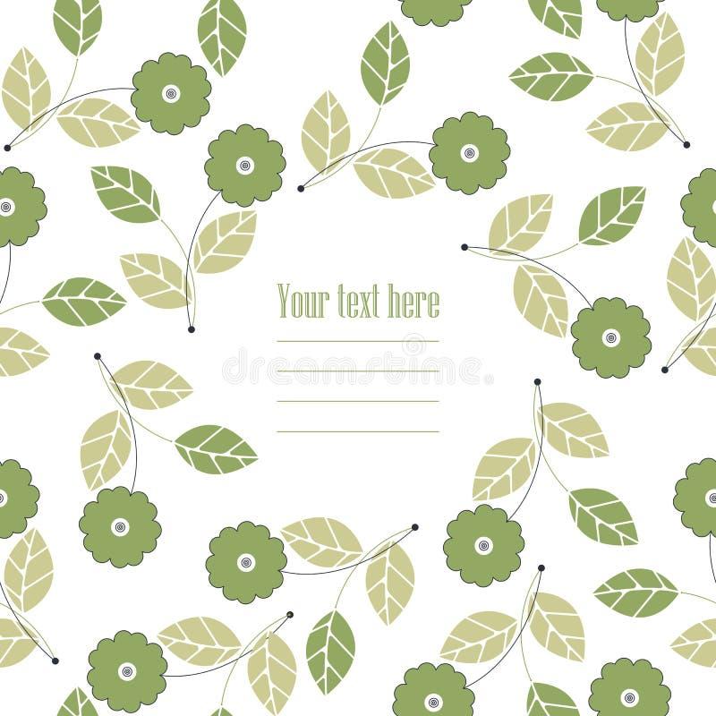 Οργανικό στρογγυλό πλαίσιο με τα πράσινα λουλούδια και τα φύλλα διανυσματική απεικόνιση
