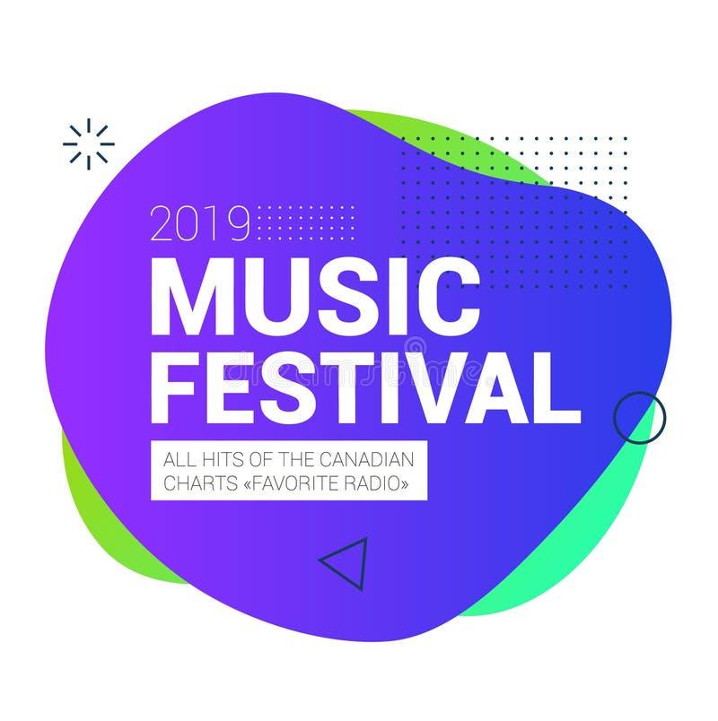 Οργανικό σχέδιο των υγρών αφηρημένων γεωμετρικών μορφών χρώματος Φεστιβάλ μουσικής στον Καναδά απεικόνιση αποθεμάτων