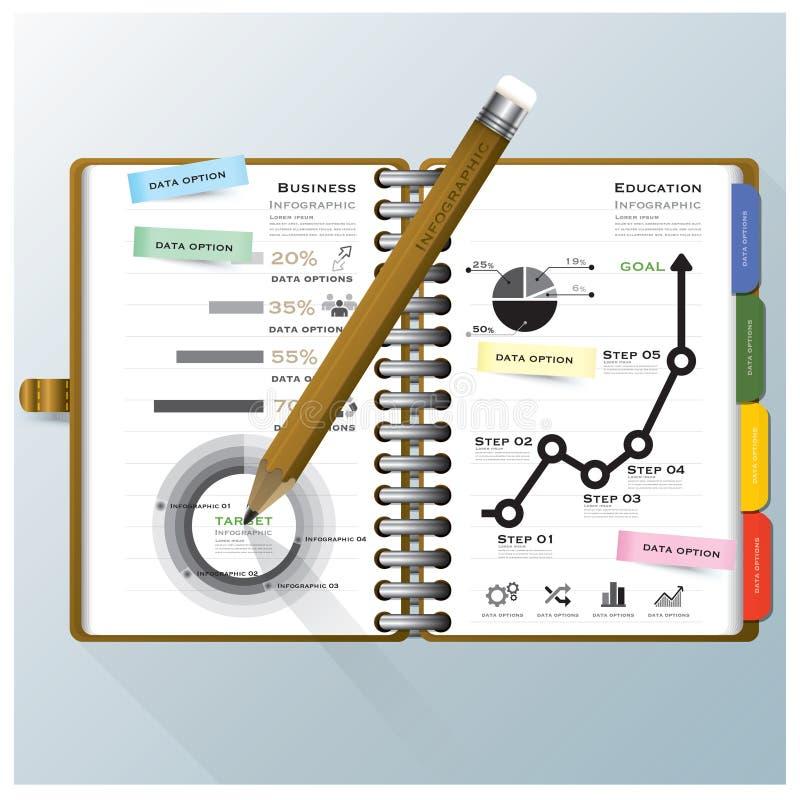 Οργανώστε την επιχείρηση σημειωματάριων και Temp σχεδίου Infographic εκπαίδευσης ελεύθερη απεικόνιση δικαιώματος