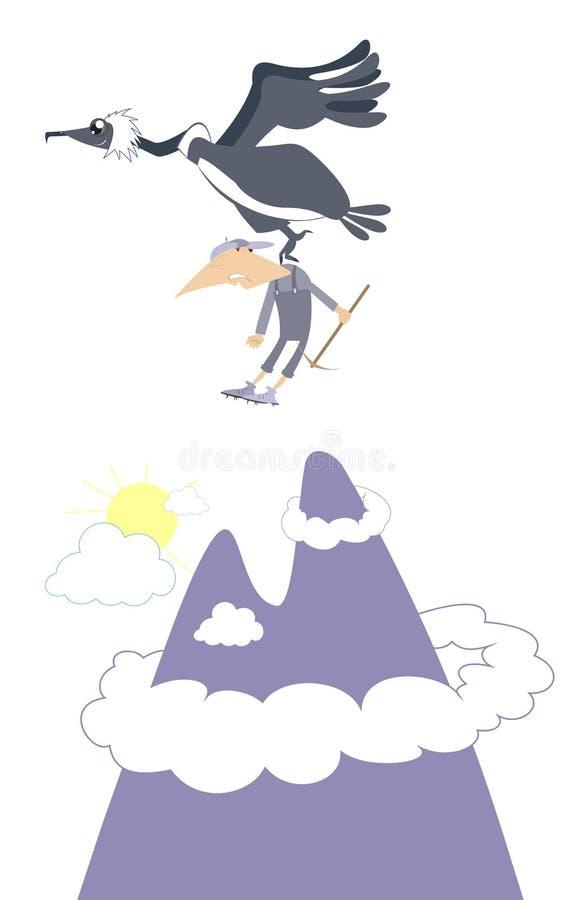 Ορειβάτης και πουλί του θηράματος στο βουνό απεικόνιση αποθεμάτων
