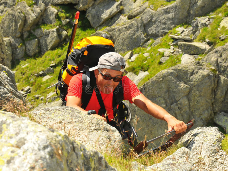 ορειβάτης που κουράζετ& στοκ εικόνες