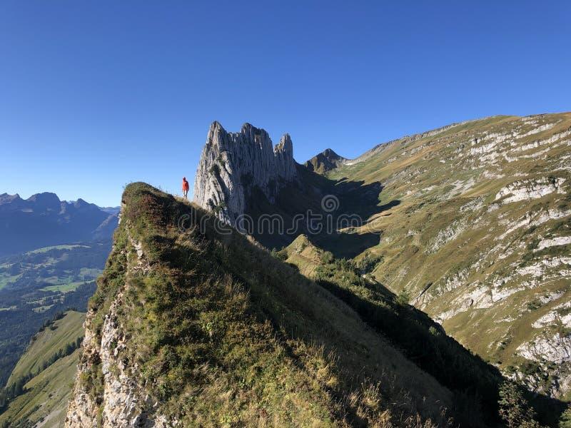 Ορειβάτης στις Ελβετικές Άλπεις στοκ εικόνες