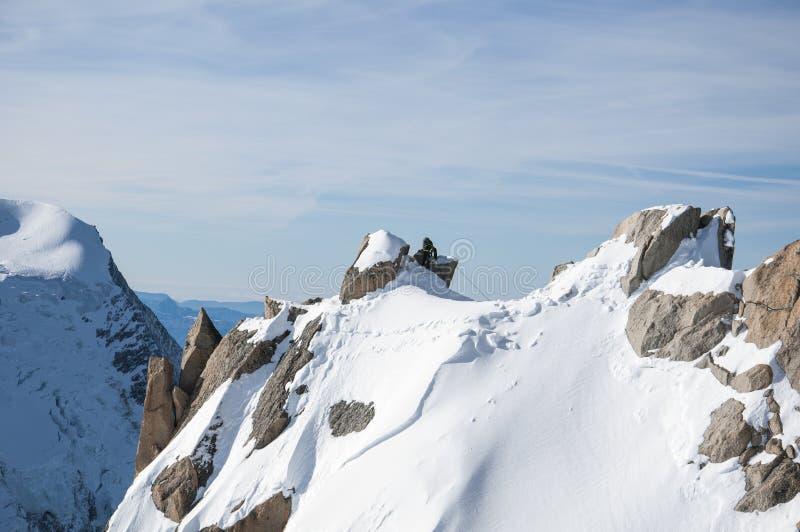 Ορειβάτης χιονιού της Mont Blanc στοκ εικόνες