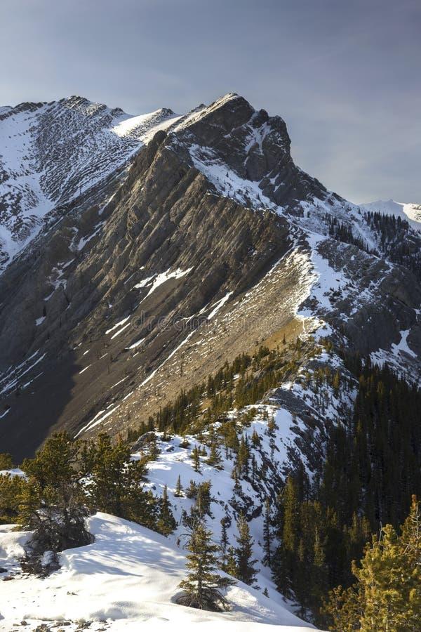 Ορειβασία στο Canadian Rockies στην τραχιά κορυφογραμμή βουνών στην αιχμή της Gap στη βόρεια πλευρά της κοιλάδας τόξων, Αλμπέρτα  στοκ εικόνα με δικαίωμα ελεύθερης χρήσης