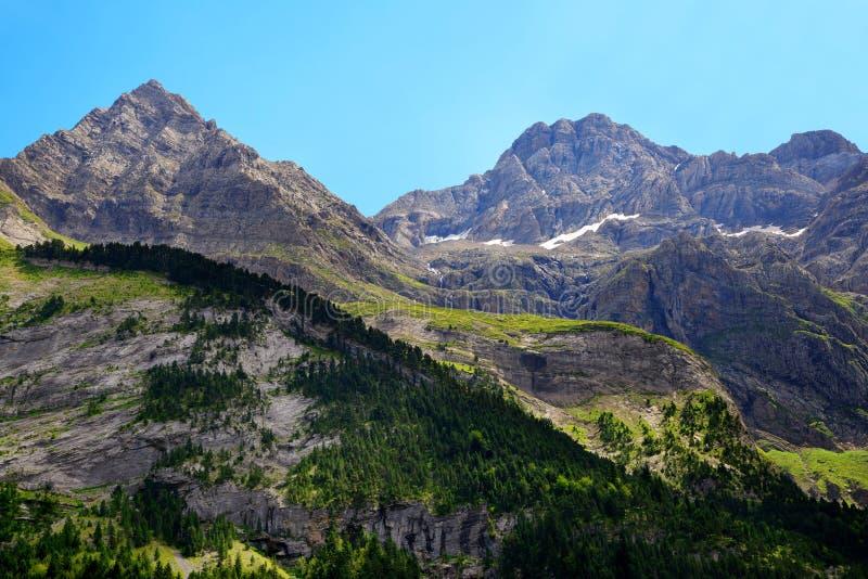 Ορεινό τοπίο στο Gavarnie Cirque στα Πυρηναία στοκ εικόνες