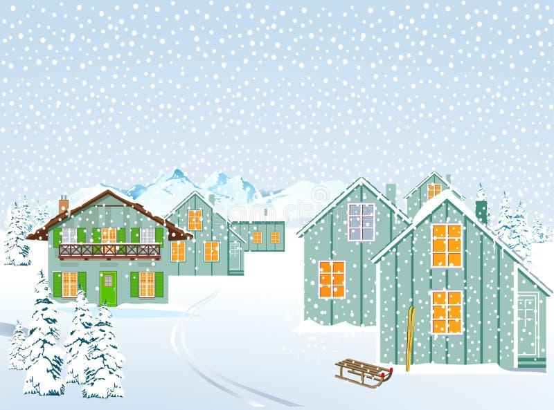 Ορεινό χωριό το χειμώνα διανυσματική απεικόνιση