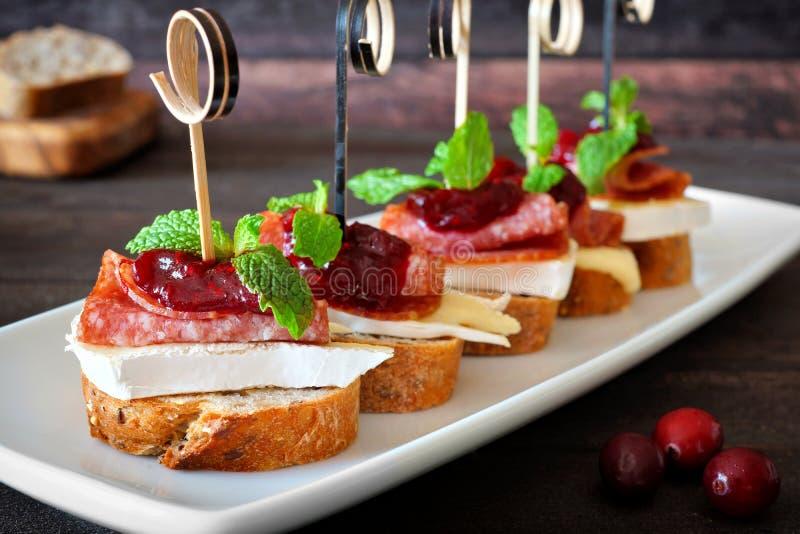 Ορεκτικά διακοπών με τη σάλτσα των βακκίνιων σε ένα άσπρο εξυπηρετώντας πιάτο στοκ εικόνες