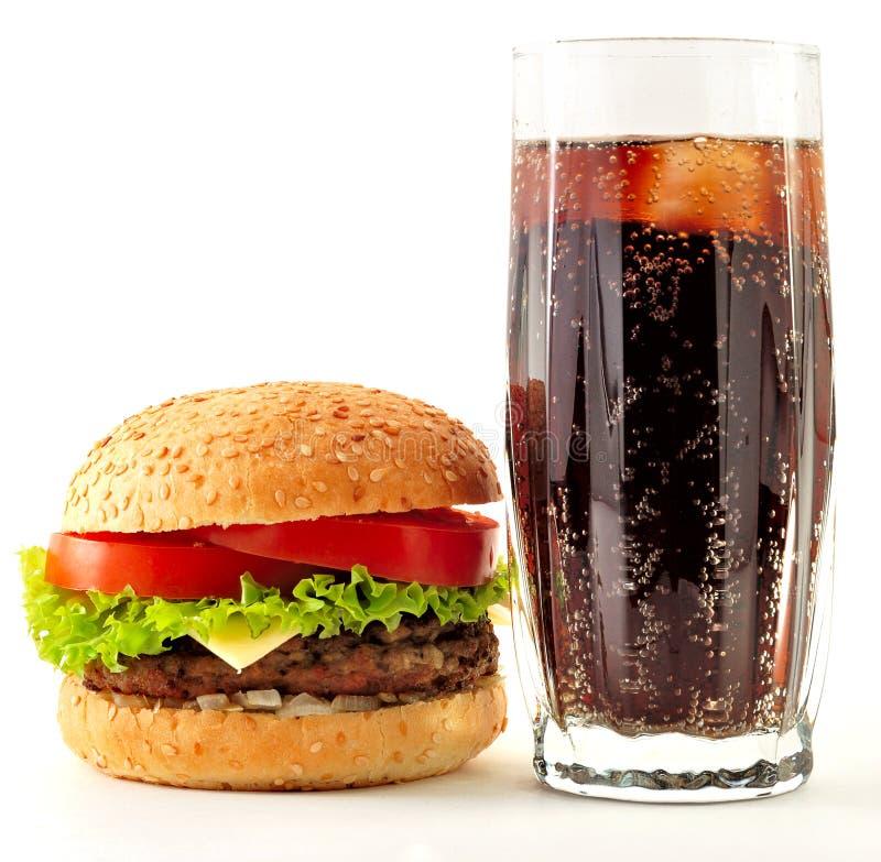 ορεκτική cheeseburger κόλα στοκ εικόνες με δικαίωμα ελεύθερης χρήσης