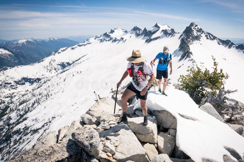 Ορεσίβιοι σε μια χιονώδη κορυφογραμμή βουνών στοκ εικόνα