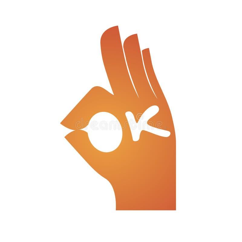 Ορθογραφία χειρονομίας χεριών ΕΝΤΆΞΕΙ ελεύθερη απεικόνιση δικαιώματος
