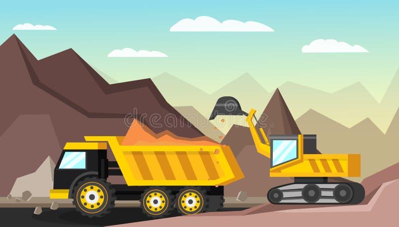 Ορθογώνια απεικόνιση εξορυκτικής βιομηχανίας διανυσματική απεικόνιση
