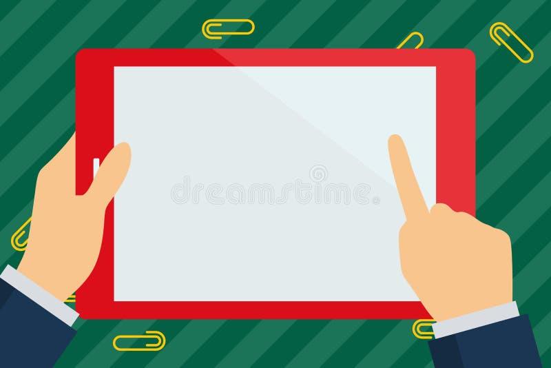 Ορθογώνια ζωηρόχρωμη ταμπλέτα εκμετάλλευσης χεριών επιχειρηματιών Φορητό Smartphone με την κενή άσπρη οθόνη Δάχτυλο που δείχνει κ διανυσματική απεικόνιση