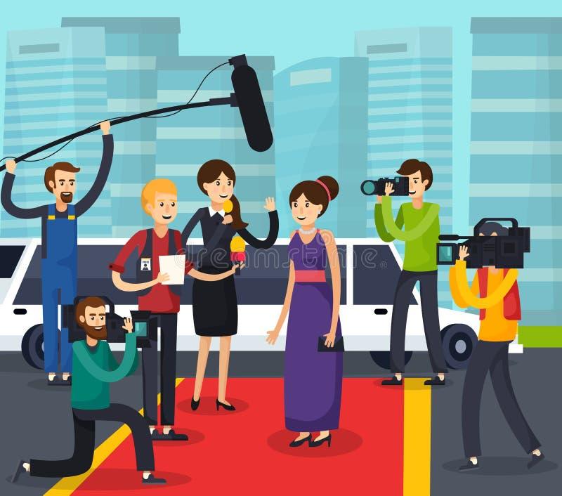 Ορθογώνια σύνθεση δημοσιογράφων και προσωπικοτήτων διανυσματική απεικόνιση