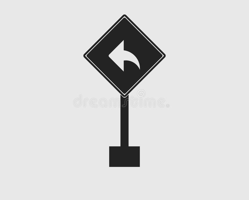 Ορθογώνιο αριστερό εικονίδιο σημαδιών βελών στροφής της εθνικής οδού απεικόνιση αποθεμάτων