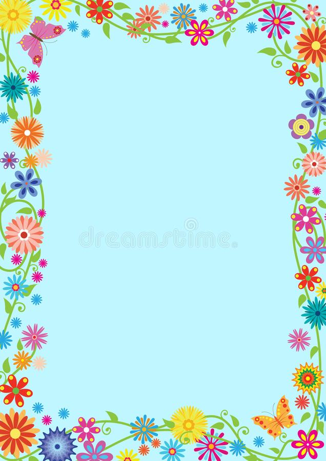 Ορθογώνιο πλαίσιο με τα φανταχτερές λουλούδια και τις πεταλούδες διανυσματική απεικόνιση