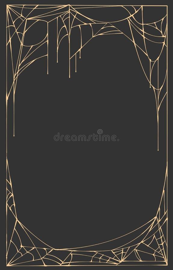 Ορθογώνιο πλαισίων Ιστού αραχνών στο μαύρο υπόβαθρο ελεύθερη απεικόνιση δικαιώματος