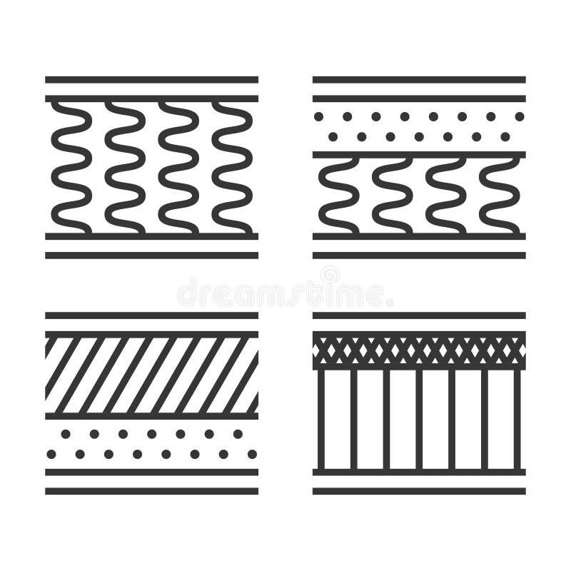 Ορθοπεδικό εικονίδιο τύπων στρωμάτων που τίθεται στο άσπρο υπόβαθρο r διανυσματική απεικόνιση