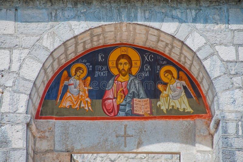 ορθόδοξη εικόνα του Ιησού Μαυροβούνιο αψίδων στοκ εικόνα με δικαίωμα ελεύθερης χρήσης