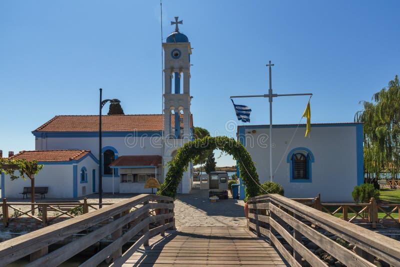 Ορθόδοξο μοναστήρι Άγιου Βασίλη που βρίσκεται σε δύο νησιά στο Πόρτο Λάγκος κοντά στην πόλη της Ξάνθης, Ελλάδα στοκ εικόνες με δικαίωμα ελεύθερης χρήσης