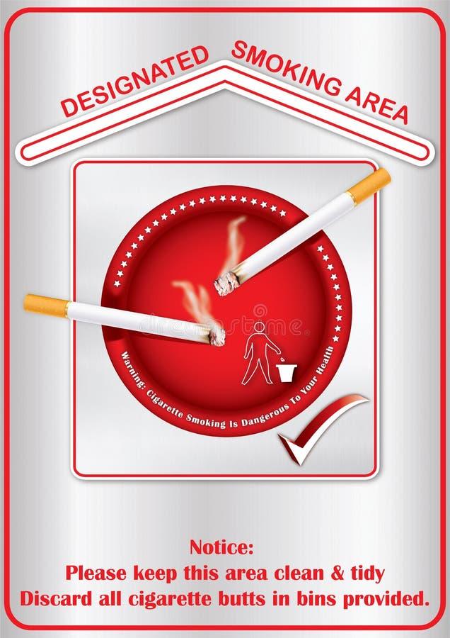 Οριζόμενη περιοχή καπνίσματος - εκτυπώσιμη αυτοκόλλητη ετικέττα ελεύθερη απεικόνιση δικαιώματος
