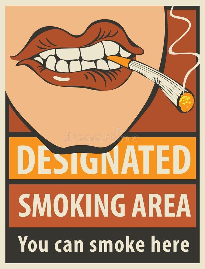 Οριζόμενη πινακίδα περιοχή καπνίσματος διανυσματική απεικόνιση