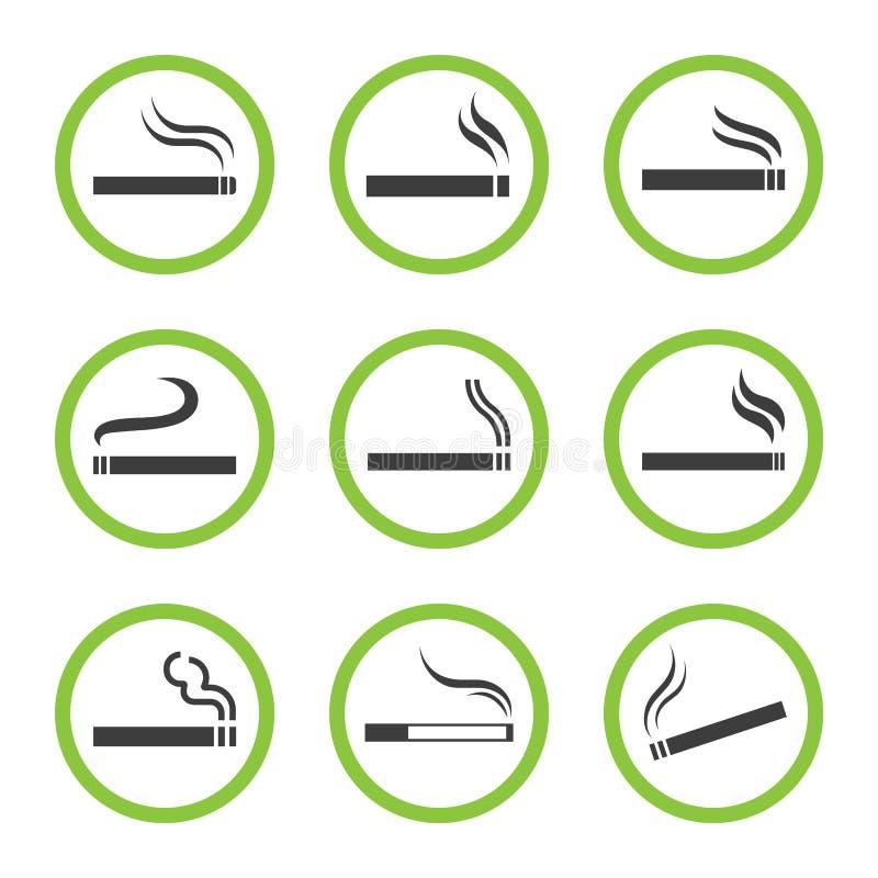 Οριζόμενο σύνολο σημαδιών περιοχής καπνίσματος, καπνίζοντας θέση διανυσματική απεικόνιση