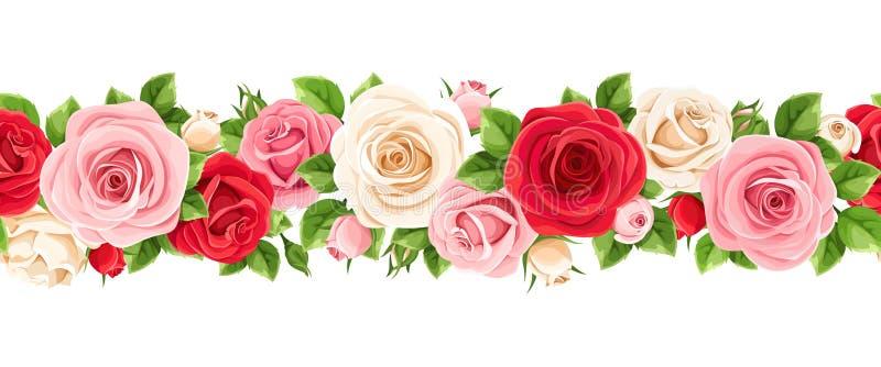 Οριζόντια άνευ ραφής γιρλάντα με τα κόκκινα, ρόδινα και άσπρα τριαντάφυλλα επίσης corel σύρετε το διάνυσμα απεικόνισης ελεύθερη απεικόνιση δικαιώματος