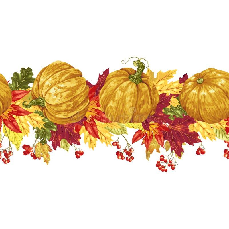 Οριζόντια άνευ ραφής διανυσματική γραμμή με τα φύλλα και τις κολοκύθες φθινοπώρου, απεικόνιση αποθεμάτων