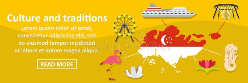 Οριζόντια έννοια εμβλημάτων πολιτισμού και Σινγκαπούρης παραδόσεων διανυσματική απεικόνιση